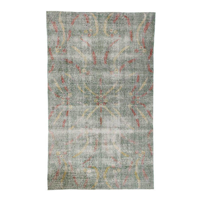 Distressed Vintage Turkish Sivas Rug with Art Deco Style For Sale