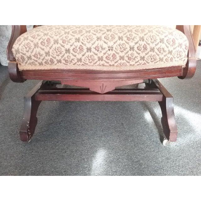 Eastlake Upholstered Victorian Wood Platform Rocking Chair For Sale - Image 10 of 13