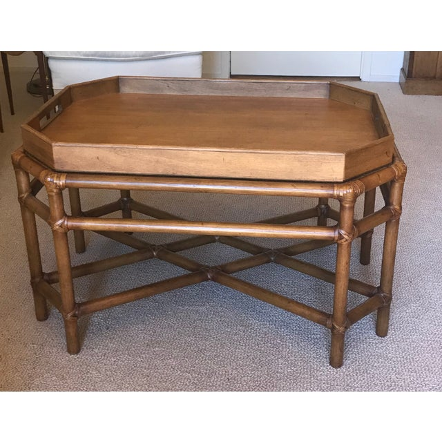McGuire Bamboo & Fruitwood Coffee Table For Sale - Image 9 of 9