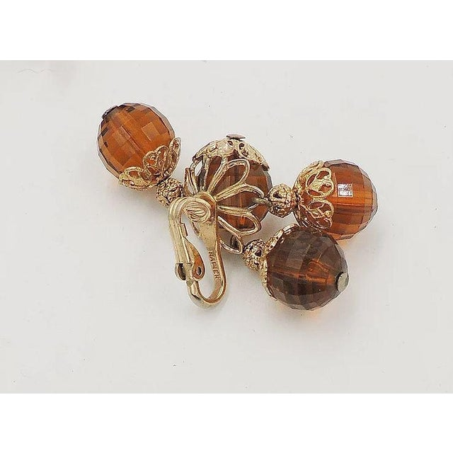 1950s Napier Brown Faceted Bead Earrings For Sale In Philadelphia - Image 6 of 7