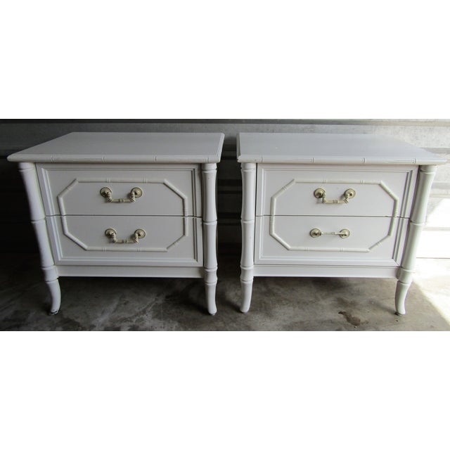 White Vintage Faux Bamboo Vintage Two Drawer Nightstands-a Pair For Sale - Image 8 of 8