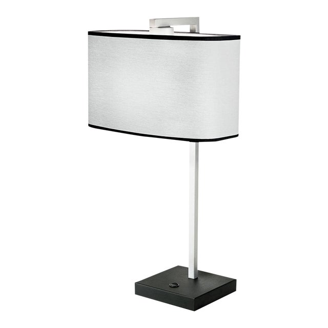 Satin Black and Aluminium Table Light For Sale