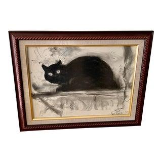 Vintage Framed Charcoal Black Cat Drawing For Sale