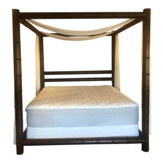 Ralph Lauren Mahogany Four Poster Canopy Bamboo Bed King For Sale