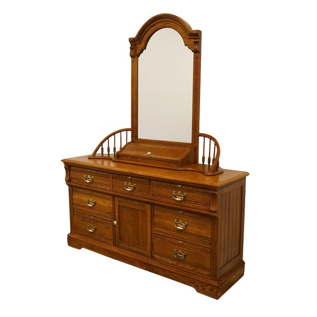 """20th Century Traditional Lexington Furniture Recollections Collection Solid Oak 64"""" Triple Door Dresser with Mirror For Sale"""