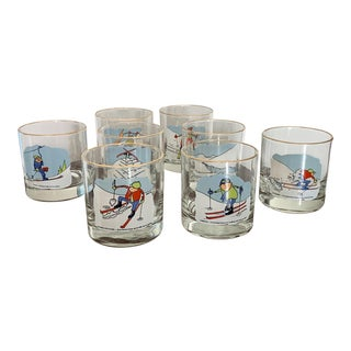 Vintage Skiing Winter Themed Gold Rim Water / Whiskey Glasses - Set of 8 For Sale