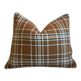 Brown, Black & White Tartan Plaid Feather/Down Pillow For Sale