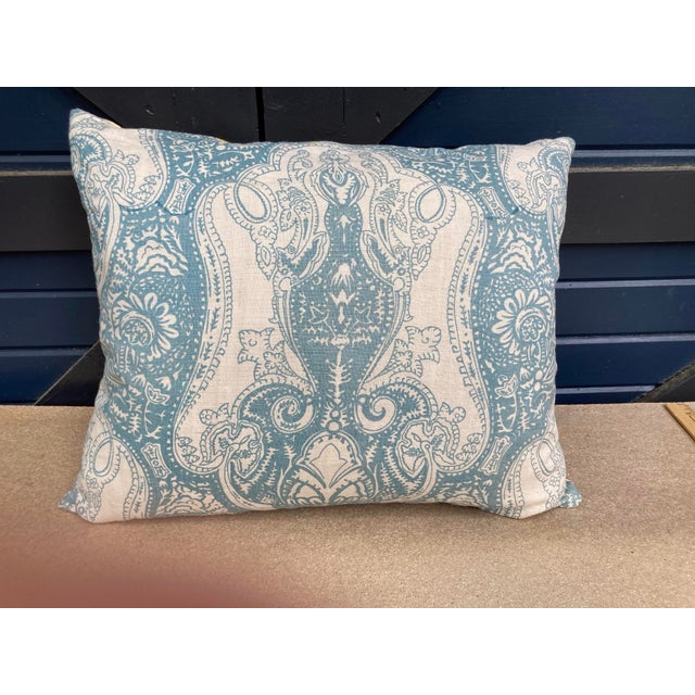 2020s Vintage Blue & White Printed Linen Textile Pillow For Sale - Image 5 of 5