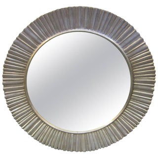 Mid-Century Modern Hand Carved and Silver Leaf Soleil / Sunburst Mirror For Sale