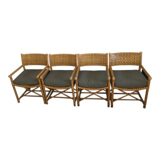 McGuire Rattan Armchairs - Set of 4 For Sale