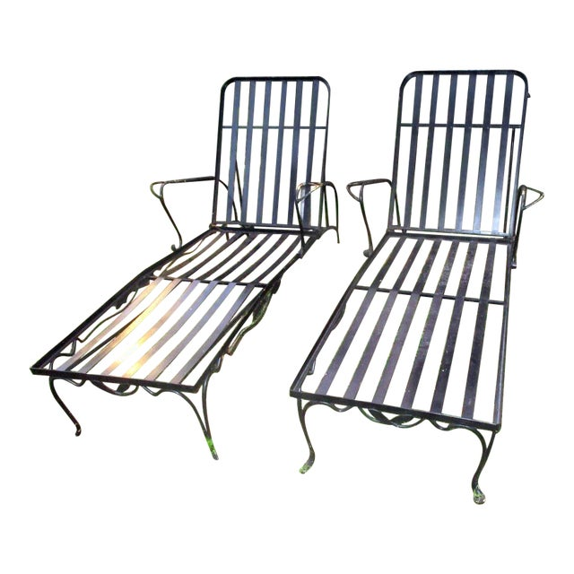 1960s Mid-Century Modern Iron Woodard Outdoor Chaise Lounges - a Pair For Sale