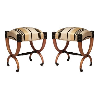 Continental Neoclassic Striped Benches - a Pair For Sale