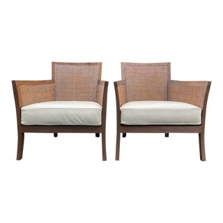 Pair Cerused Walnut and Caned Armchairs W/ Leather Seats For Sale