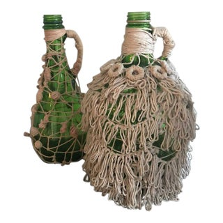 Vintage Hand Knotted Fishnet Bottles - a Pair For Sale