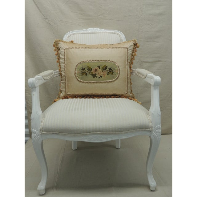 Gold Antique Aubusson Center Tapestry Decorative Pillow For Sale - Image 8 of 9