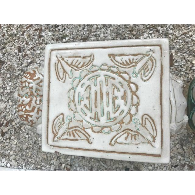 Ceramic Vintage White Ceramic Elephant Garden Stools - A Pair For Sale - Image 7 of 11