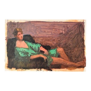 "Original Clair Seglem Portrait Painting of Woman in Repose in Green - 14"" X 22"" For Sale"
