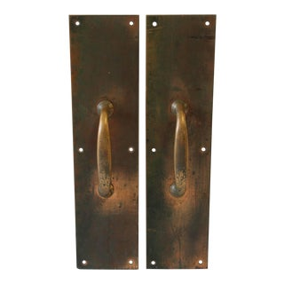 Antique Copper and Brass Entry Door Pull Hardware- A Pair For Sale