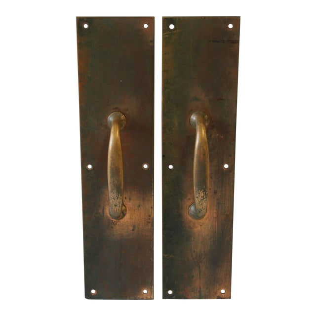 Fine Antique Copper And Brass Entry Door Pull Hardware A Pair Decaso
