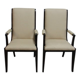 Vintage Mastercraft Amboyna Neo Classical Dining Room Arm Chairs- A Pair For Sale