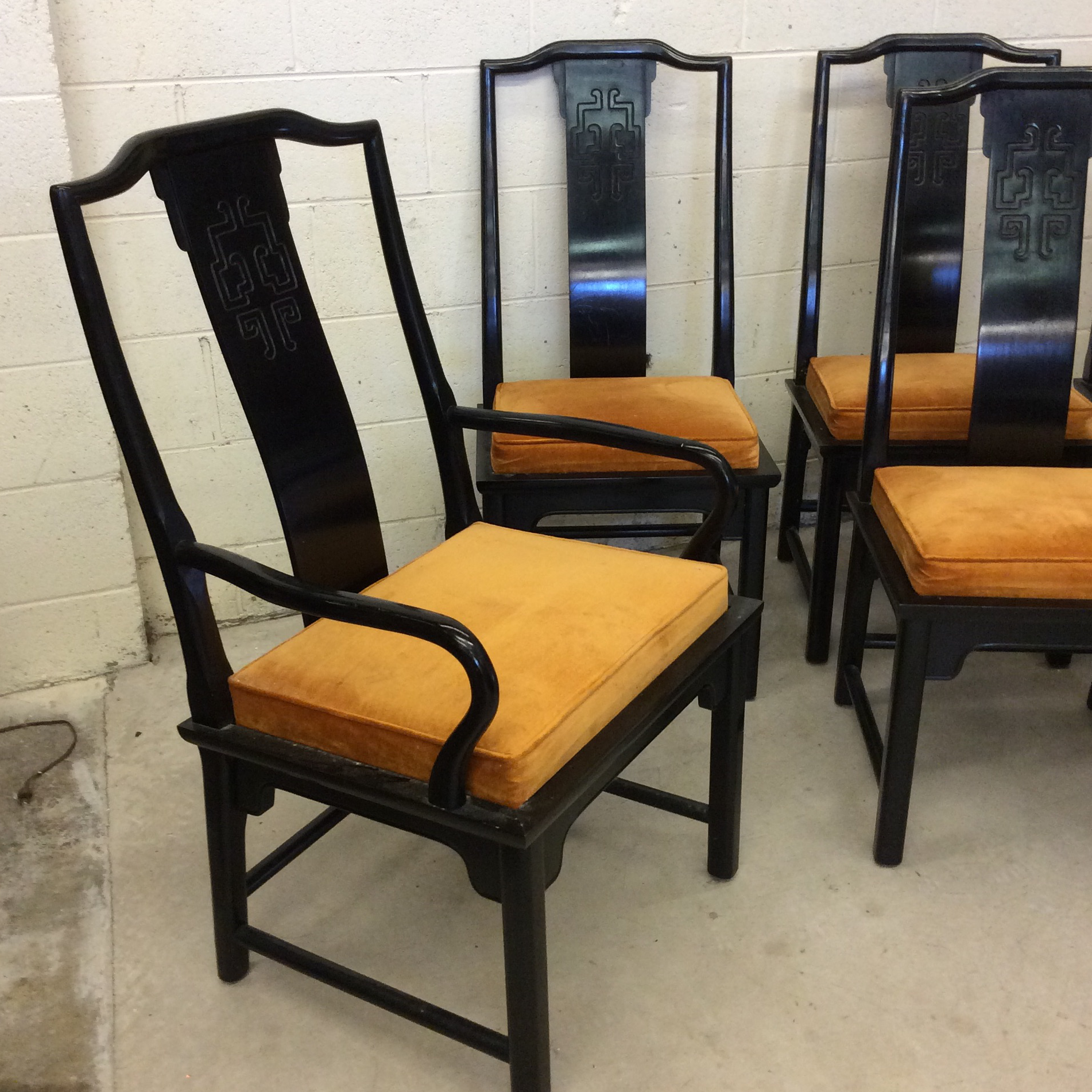 Well-known Century Furniture Chin Hua Black Lacquer Dining Chairs - Set of 6  QS07