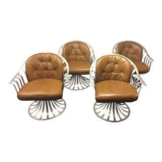 1970s Mid Century Modern Russell Woodard Spoke Aluminum Lounge Swivel Chairs - Set of 4 For Sale