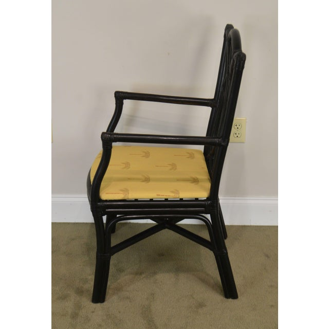McGuire Style Set 8 Black Rattan Bamboo Dining Chairs For Sale In Philadelphia - Image 6 of 13