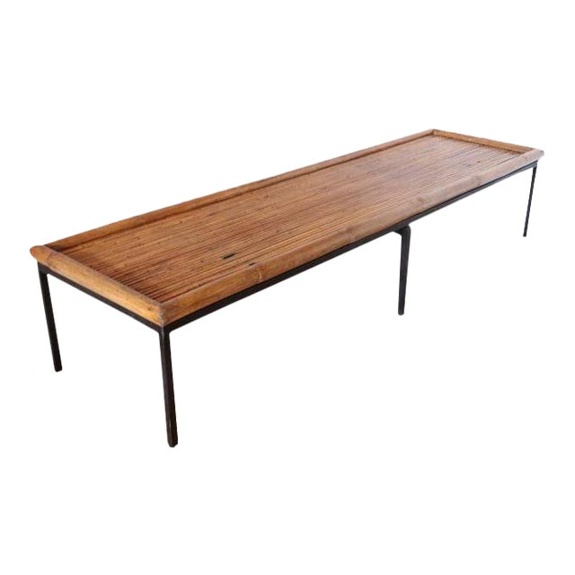 Mid-Century Bamboo & Iron Coffee Table For Sale