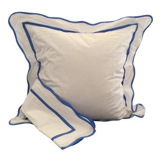 White & French Blue Euro Shams - A Pair
