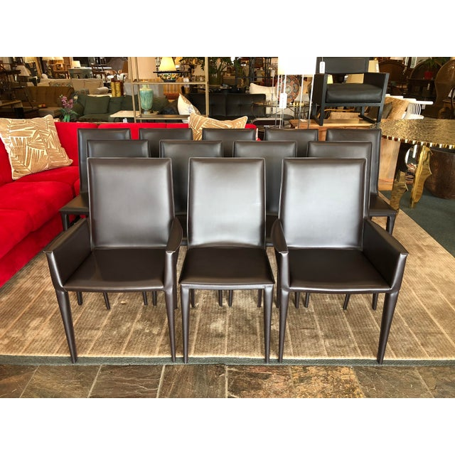 Design Within Reach Bottega Leather Dining Chairs - Set of 12 - Image 11 of 11