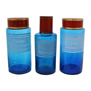Antique French Pharmacy Bottles - Set of 3