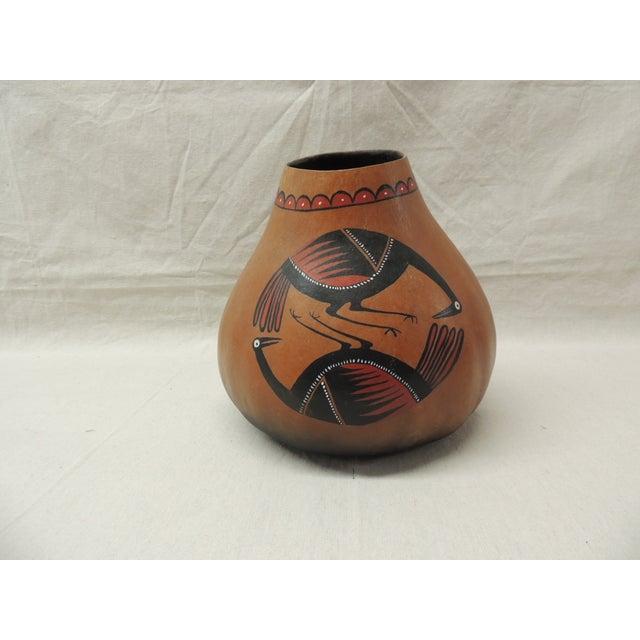 American Indian Painted Gourd Art Vase - Image 3 of 4
