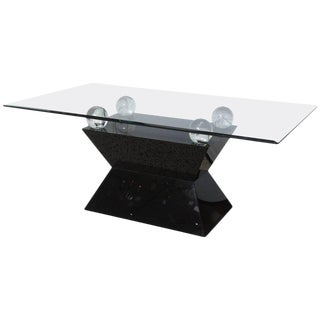 1970s Modern Black Laminate, Lucite and Glass Dining Table For Sale