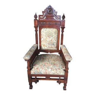 Antique Carved Throne Chair Circa 1890 For Sale