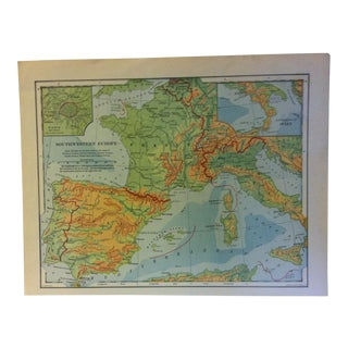 "Vintage Color Map on Paper, Southwestern Europe"", Circa 1930 For Sale"
