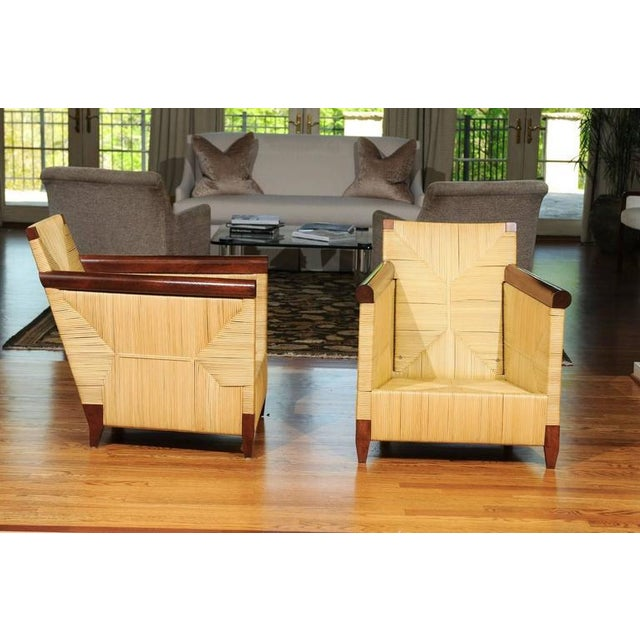Superb Pair of Mahogany and Wicker Loungers by John Hutton for Donghia For Sale In Atlanta - Image 6 of 11