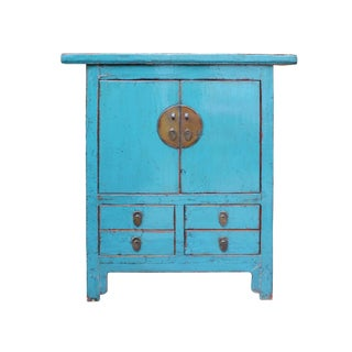 Chinese Distressed Rustic Bright Light Blue Foyer Credenza Table Cabinet For Sale