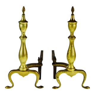 Vintage Puritan Federal Style Brass Andirons - a Pair