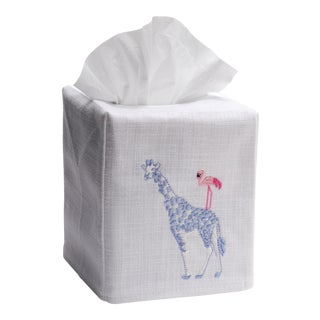 Giraffe & Flamingo Tissue Box Cover White Linen & Cotton, Embroidered For Sale