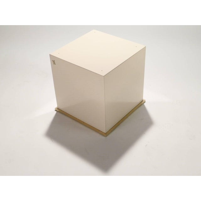 Jean Claude Mahey Jc Mahey Lacquer and Brass Cube Side Table, 1970s For Sale - Image 4 of 6