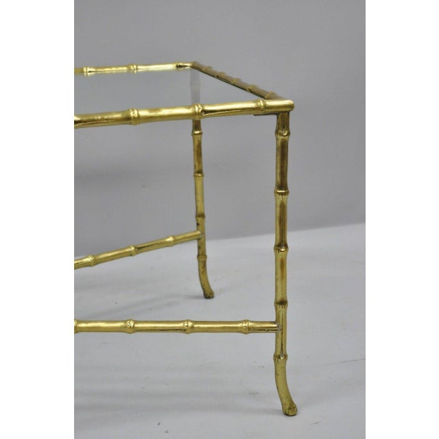 Bronze Maison Bagues French Bronze Faux Bamboo Glass Rectangular Coffee / Cocktail Table For Sale - Image 7 of 11