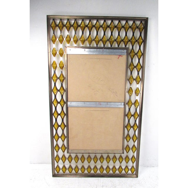 Metal Large Mid-Century Chrome and Amber Blown Glass Mirror For Sale - Image 7 of 8