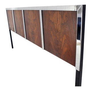Rosewood and Heavy Chrome Mid-Century Modern King Size Headboard Bed For Sale