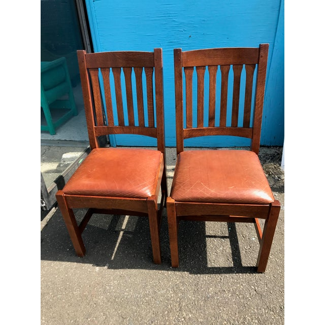 Stickley Mission Cottage Oak & Leather Side Chairs - A Pair - Image 2 of 11