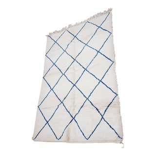 Moroccan Beni Ourain White and Blue Wool Area Rug - 5′7″ × 8′10″ For Sale