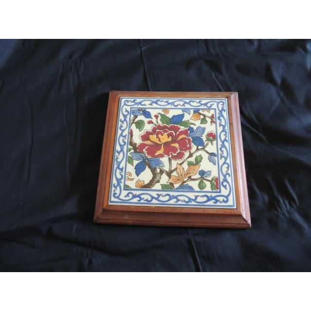 1950s Hand Painted Ceramic Persian Tile Trivet Inset in Wooden Frame For Sale - Image 5 of 5