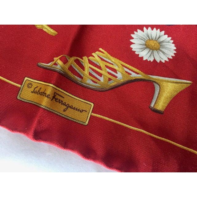 Salvatore Ferragamo 100% silk pocket square or small ladies scarf - Ladies Shoe Motif. Made in Italy. 16 x 16 inches. No...