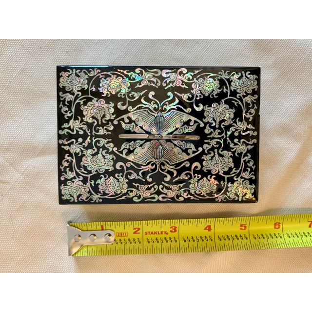 Metal Mother of Pearl and Lacquer Inlay Box For Sale - Image 7 of 9