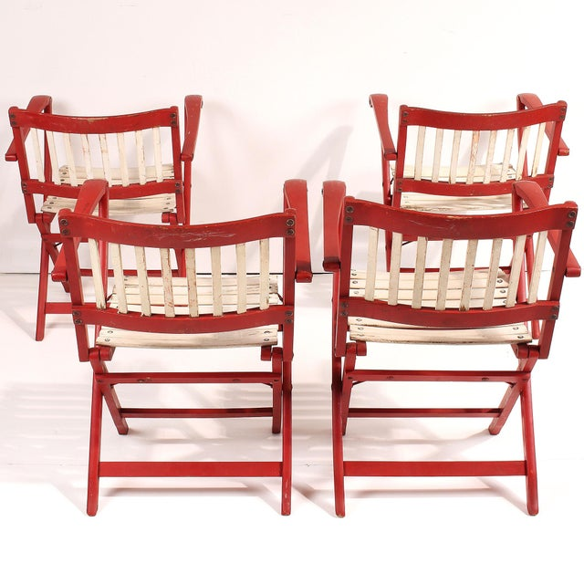 Italian 1950s Fratelli Reguitti Folding Deck Chairs - Set of 4 For Sale - Image 3 of 10