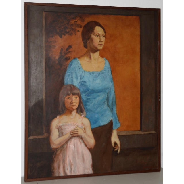 Vintage Oil Portrait of a Young Mother and Daughter C.1979 For Sale - Image 9 of 9